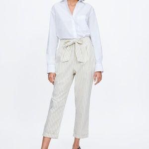 ZARA Tie Embellished Striped Pants